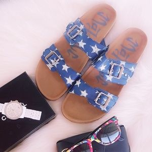 Women's Blue Stars Footbed Sandals Patriotic 10